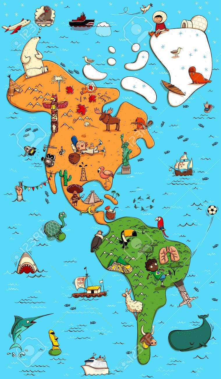 Illustrated Colorfull Map Of North And South America With Funny