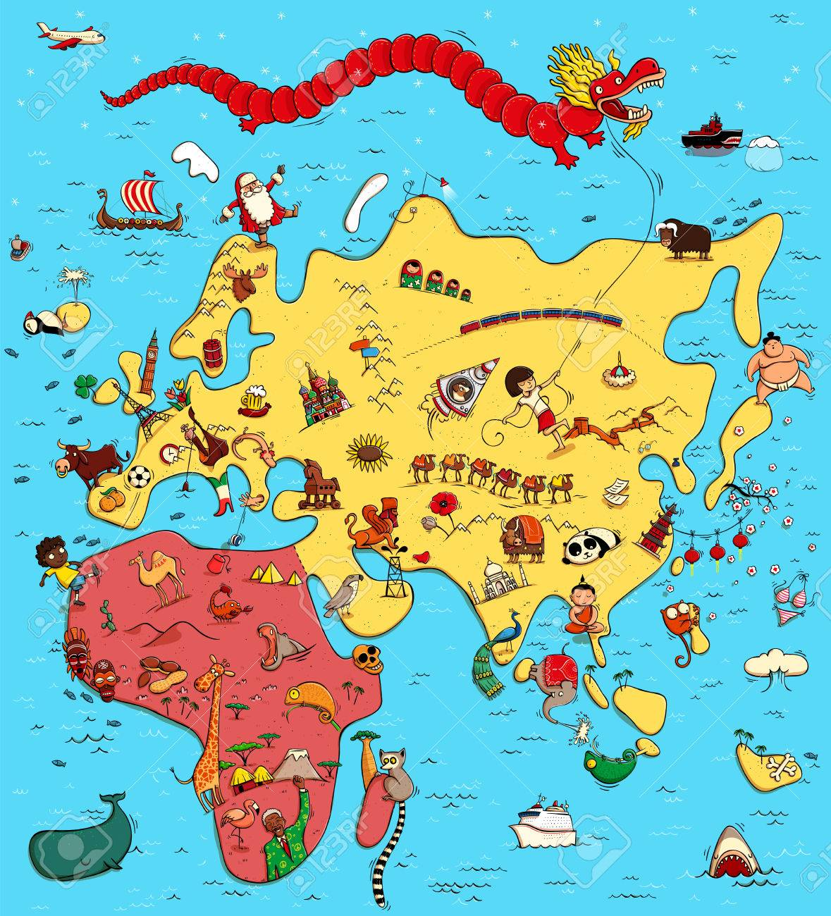 Illustrated Map Of Europe Asia And Africa With Funny And Typical