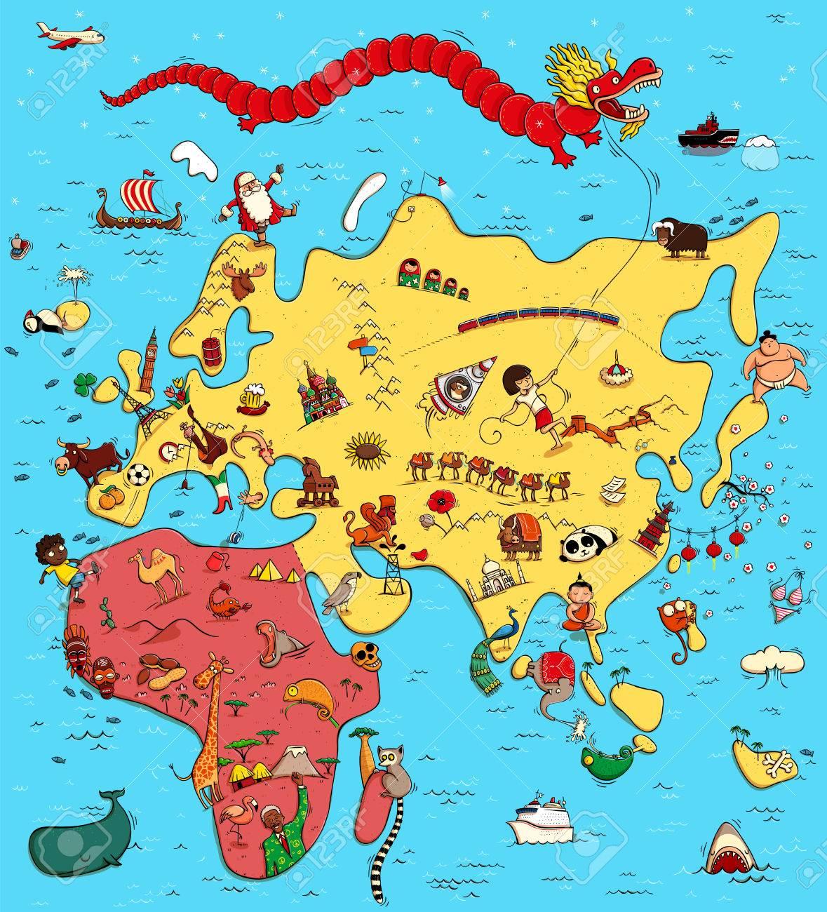 Europa Asia Cartina.Illustrato Mappa Di Europa Asia E Africa Con Gli Oggetti Divertenti E Tipici Persone Attivita Animali Piante Storia Etc Illustrazione Nel