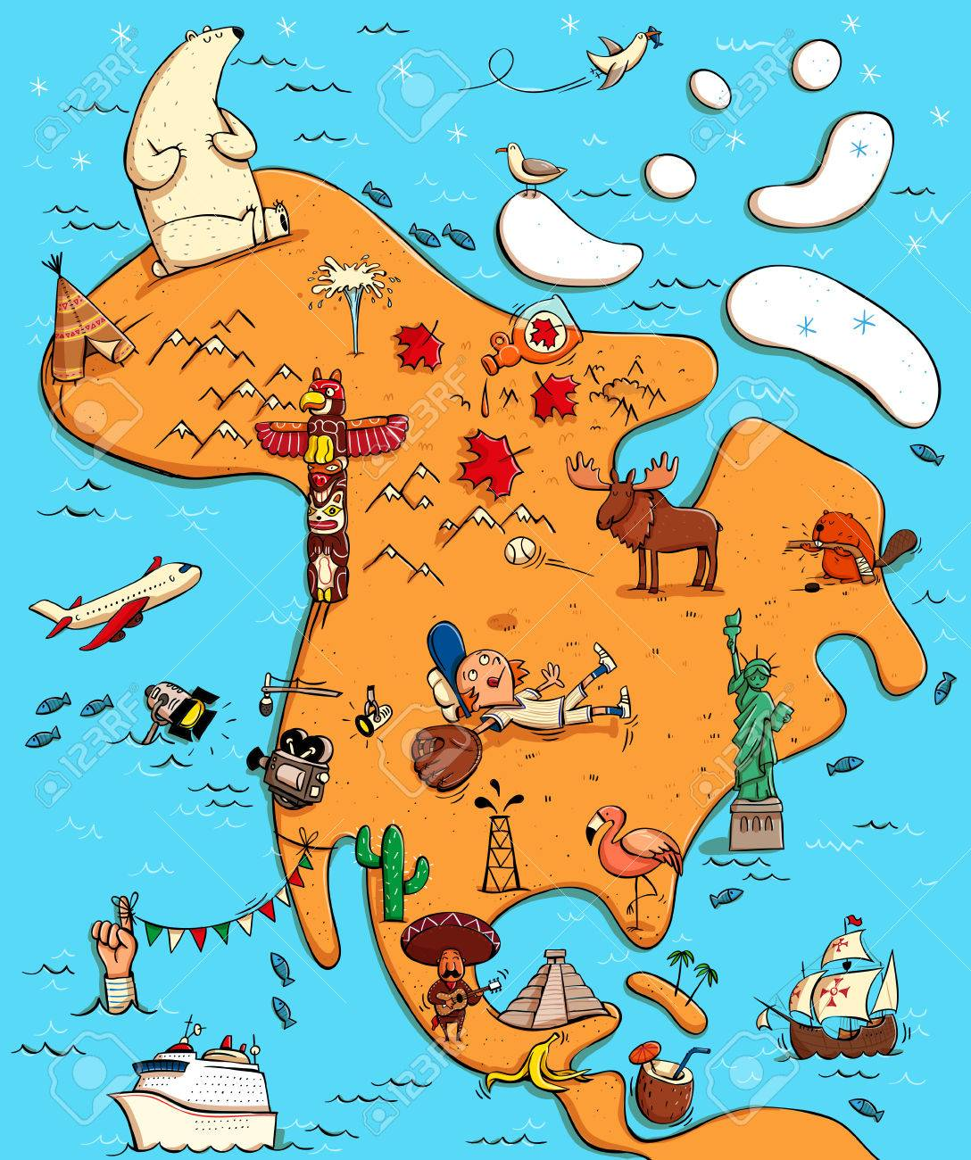 Illustrated Map Of North America With Funny And Typical Objects