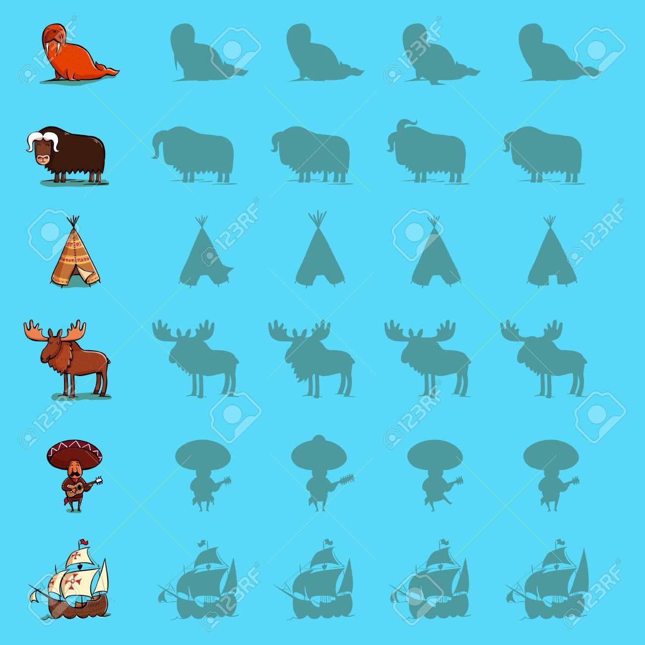 Encuentra Los Juegos Visuales De Sombra Correctos Set De Seis