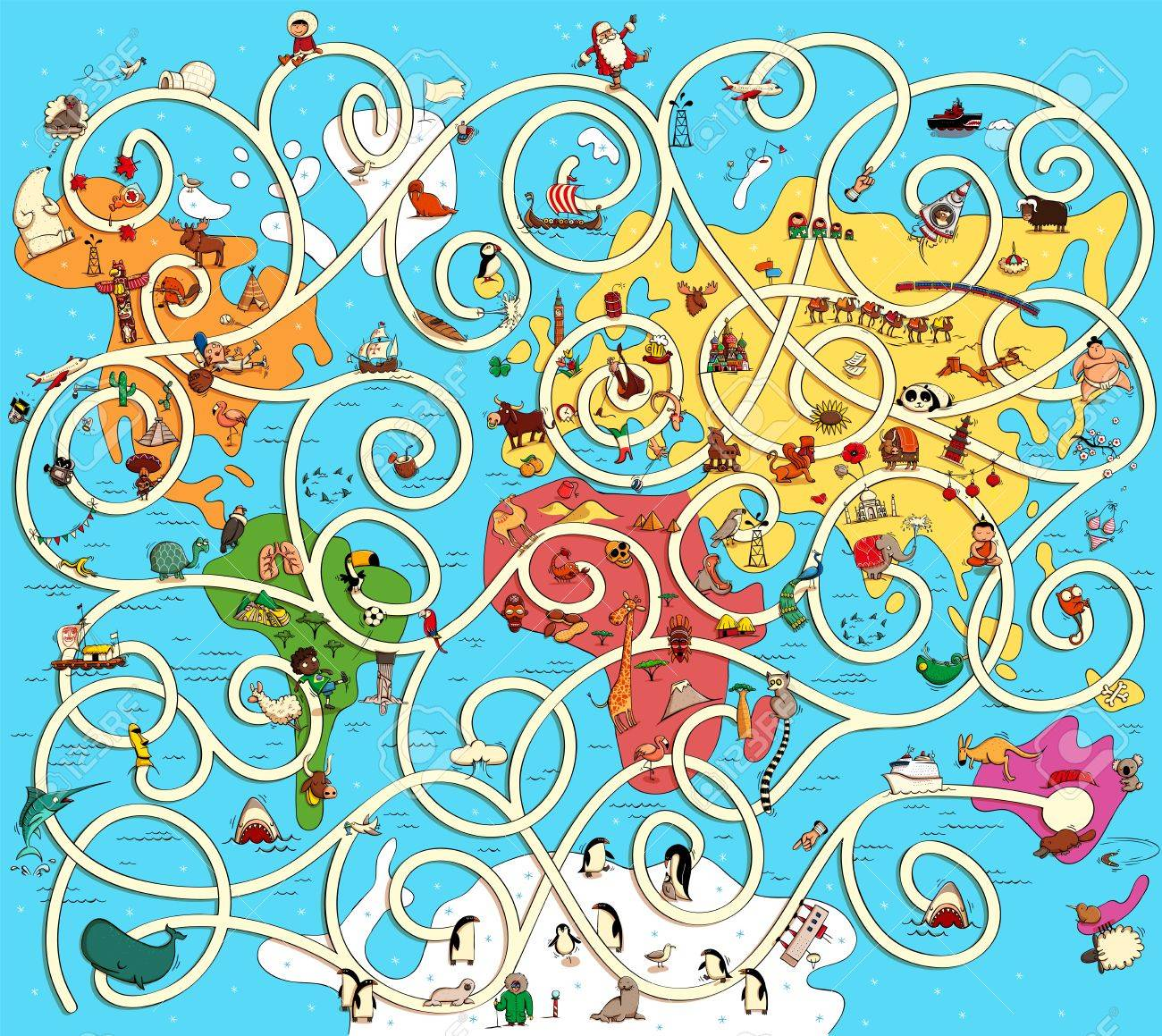 Great map of the world maze game find the right way from australia great map of the world maze game find the right way from australia to europe gumiabroncs Choice Image
