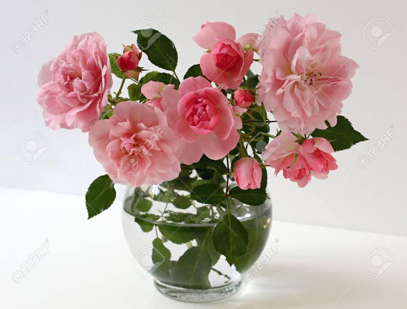 Rosas De Color Rosa En Un Florero De Cristal Sobre Un Fondo Blanco