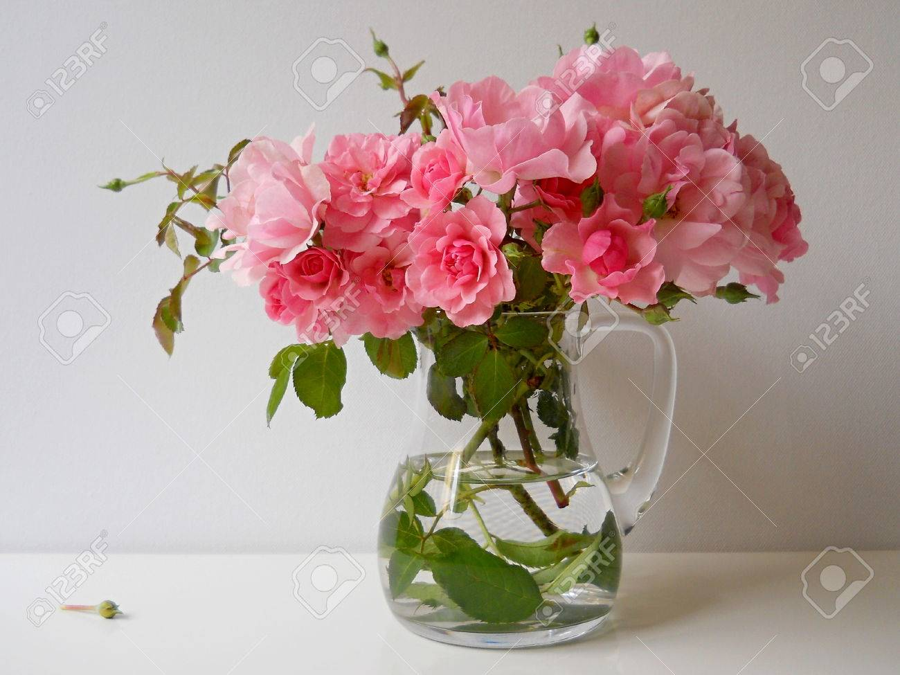 Bouquet Of Pink Roses In A Glass Vase Floral Still Life Stock