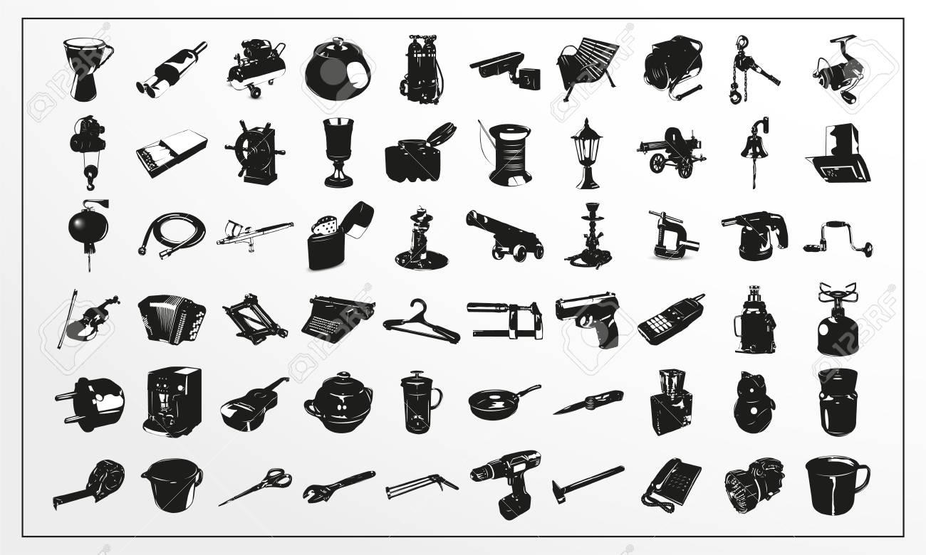 Set Von Vektor Icons Auf Einem Thema Alltag In Schwarz Und Weiß ...