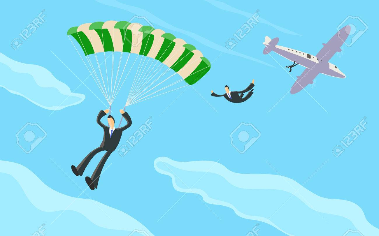 A businessman sky diving from a plane and opening his parachute - 27562063