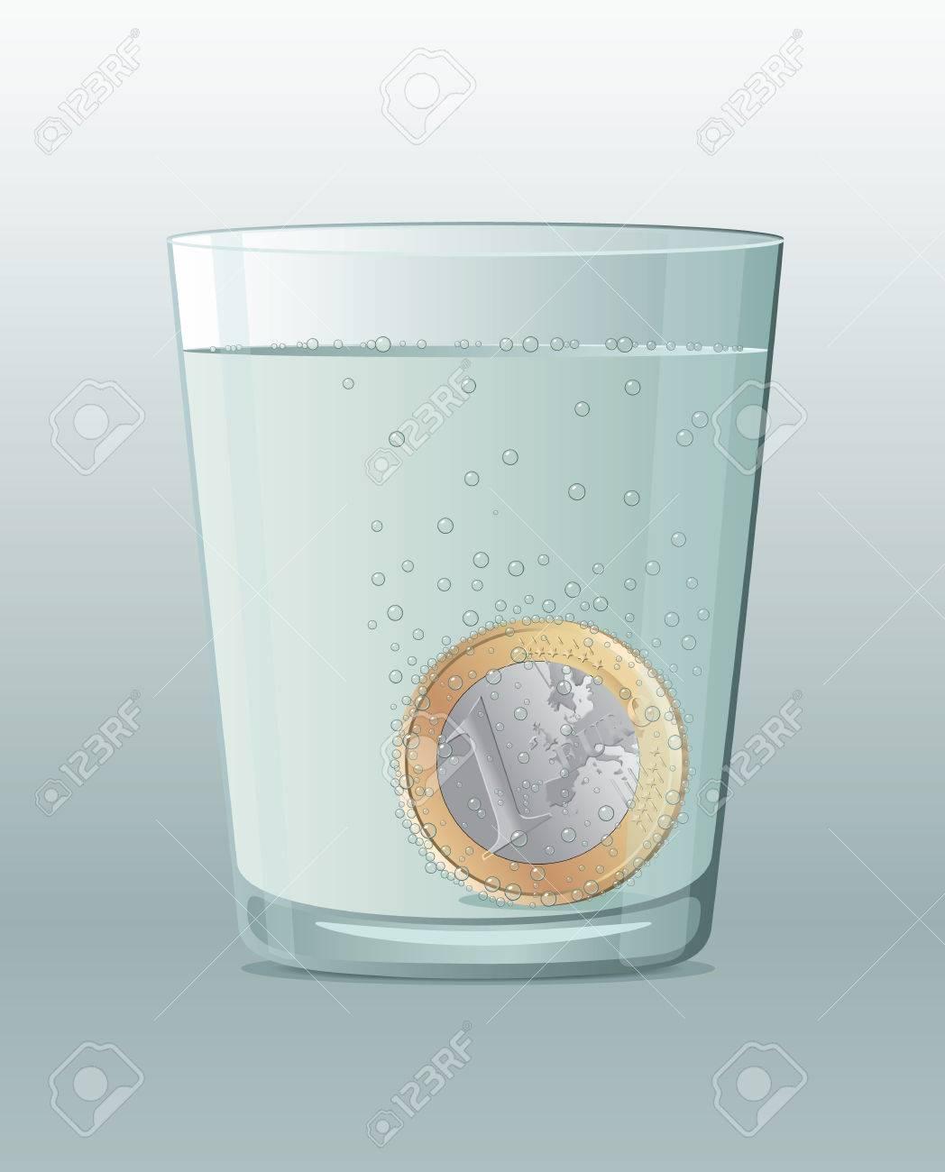 Aspirin-like Euro coin inside a glass of water - 27772930