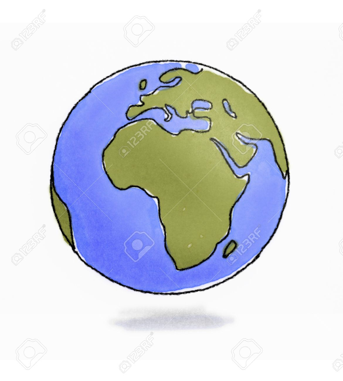 Hand drawn sketchy Earth pencil and watercolors - 30657070