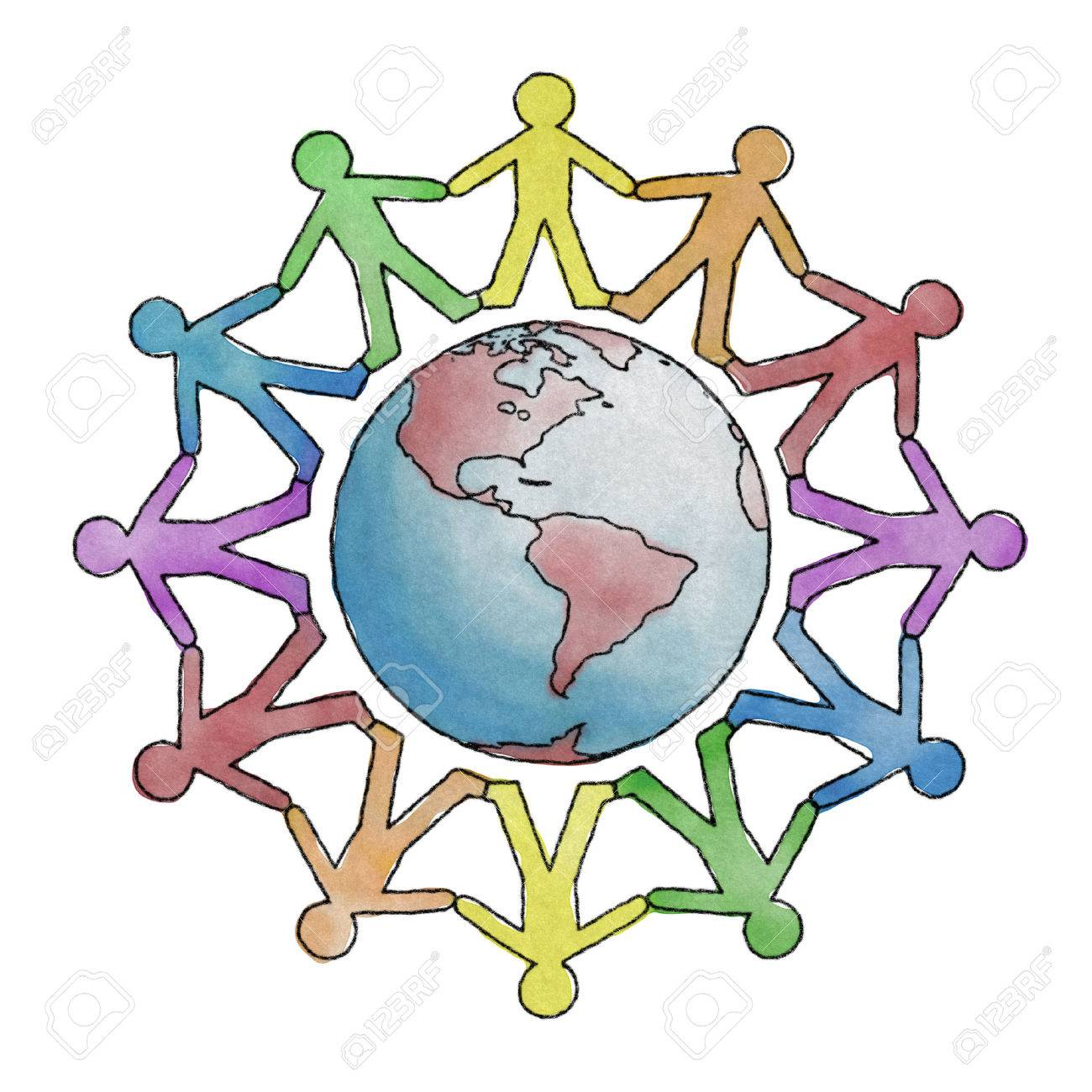 Hand drawn Earth with cutout people holding hands - 30657072