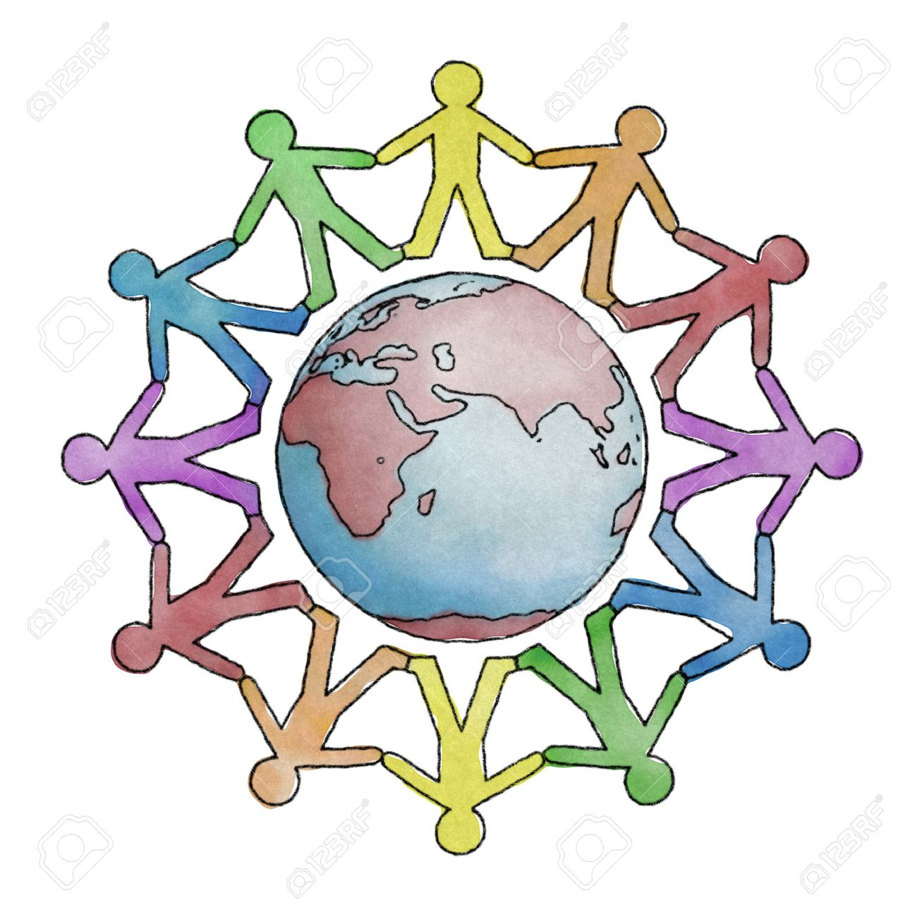 Hand drawn Earth with cutout people holding hands - 30657078