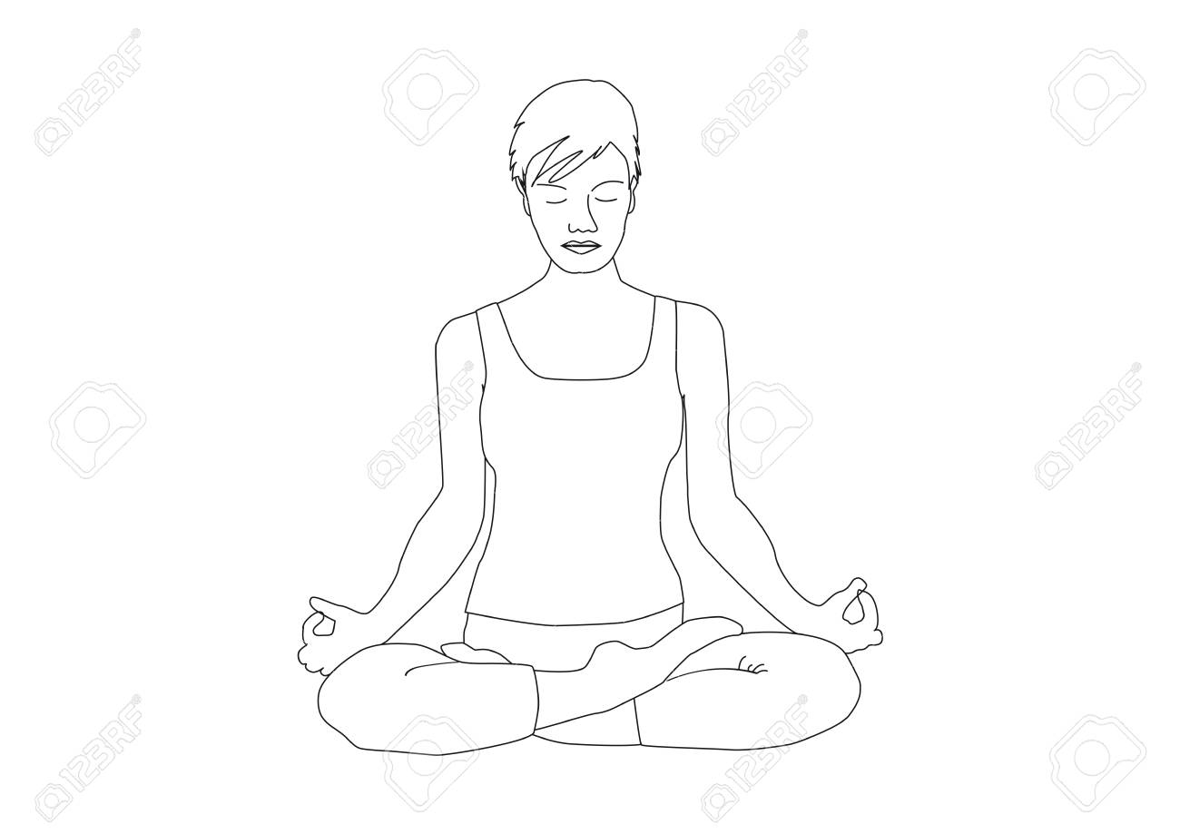 Hand drawn woman with short hair practicing yoga lotus position