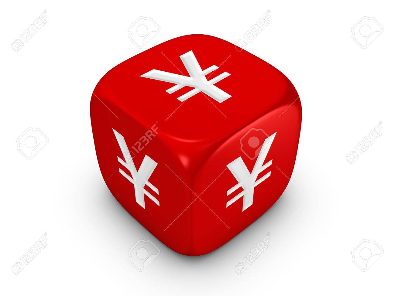 one red dice with yen sign isolated on white background Stock Photo - 4353085