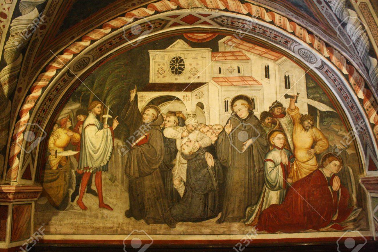 The picture from the wall of st  Gregory s Chapel Stock Photo - 17298708