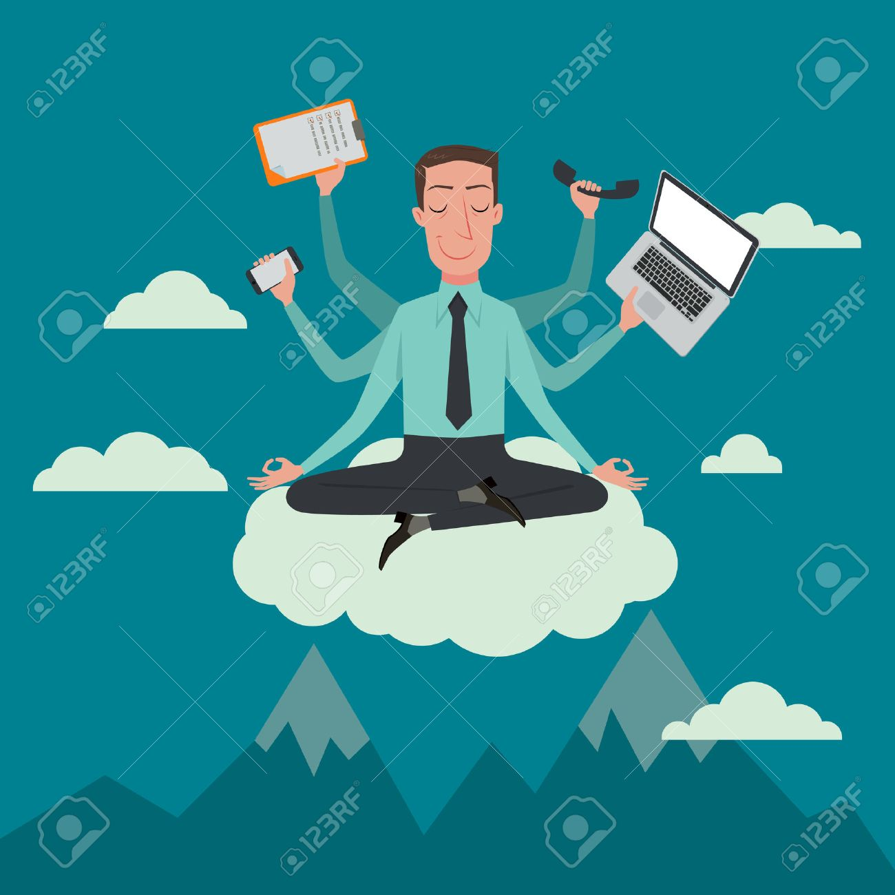 Businessman in the sky position meditating in peace for any spiritual and inner peace business concepts,vector illustration. - 46579522