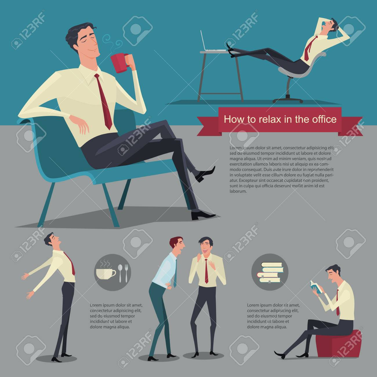 How to relax between work. Vector Illustration Businessman working office life. - 50753007