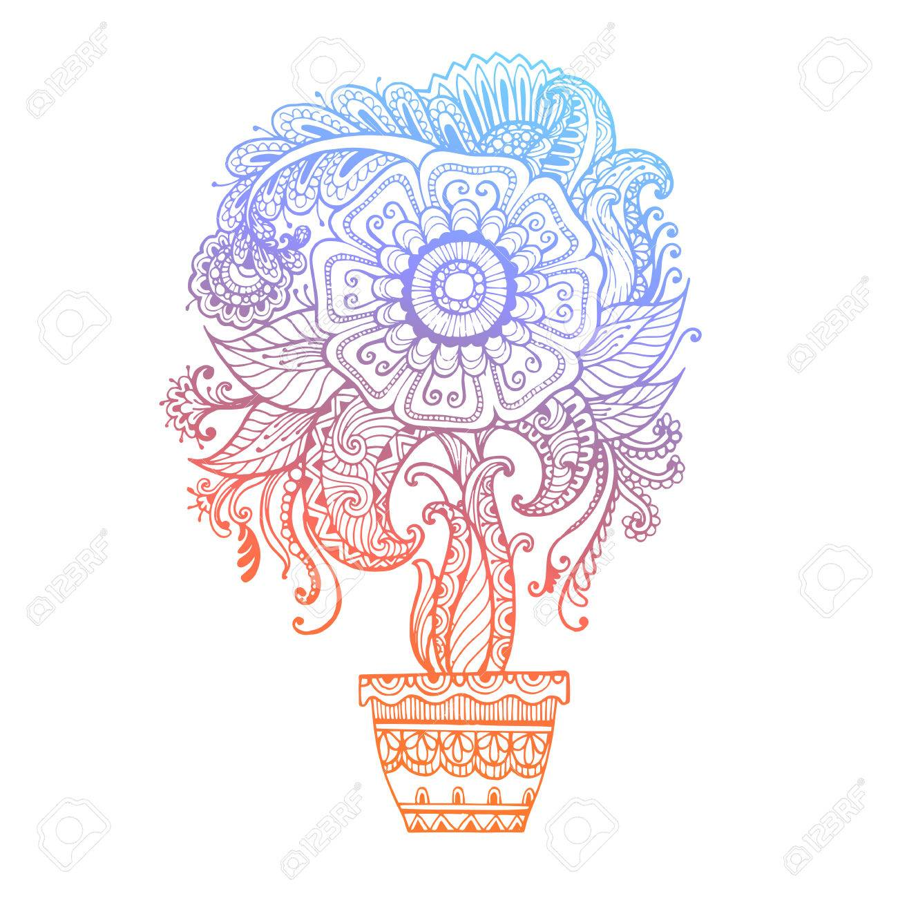 Hand Drawn Abstract Henna Mehndi Flowers And Paisley Doodle Vector
