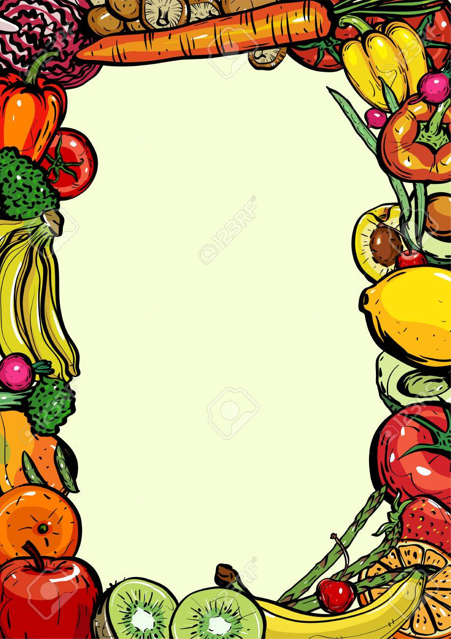 Hand Drawn Frame Healthy Food Of Different Fruits And Vegetables Royalty Free Cliparts Vectors And Stock Illustration Image 74575577