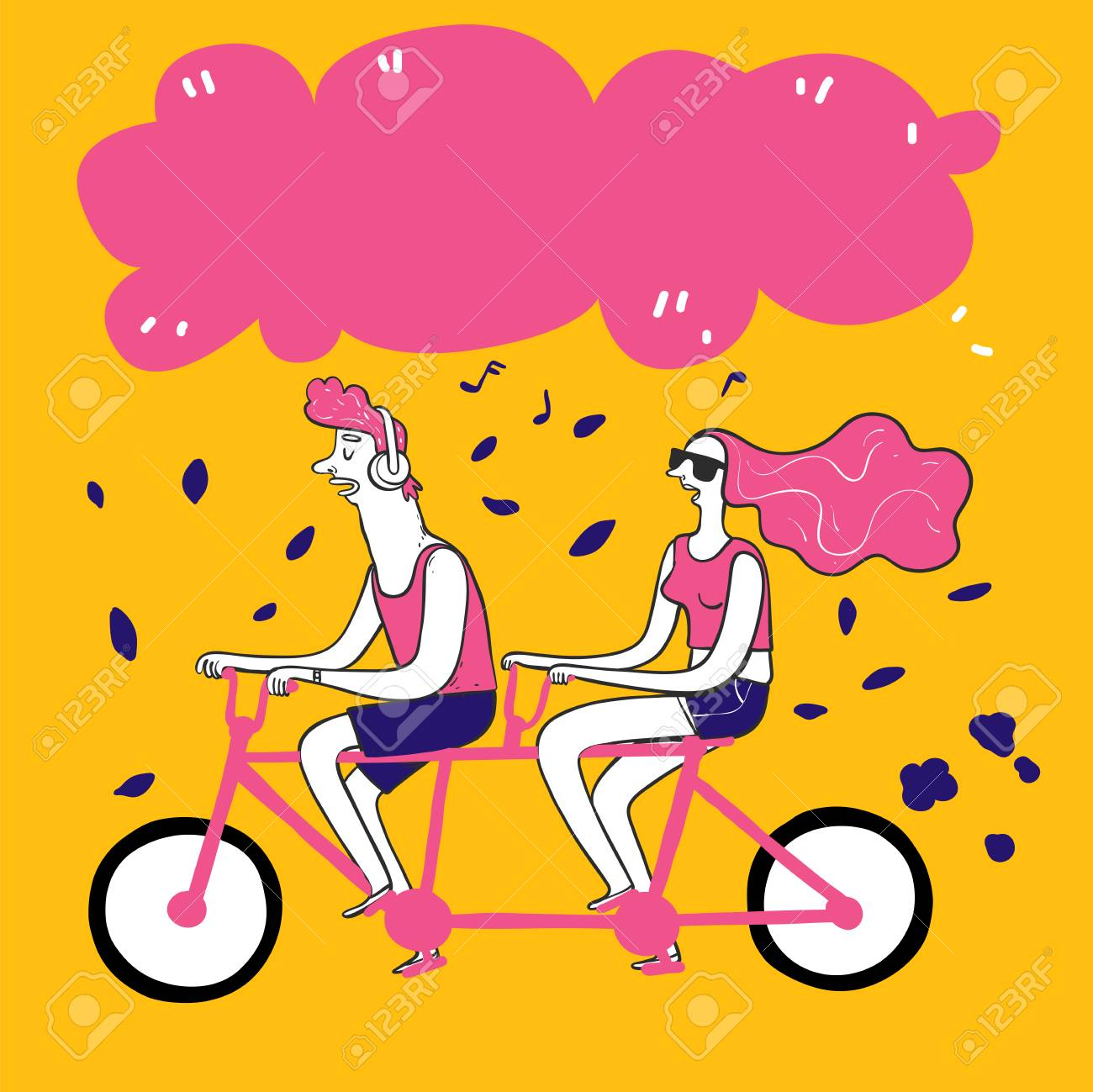 Collection of hand drawn couple take bike. Vector illustrations in sketch doodle style. - 110370887