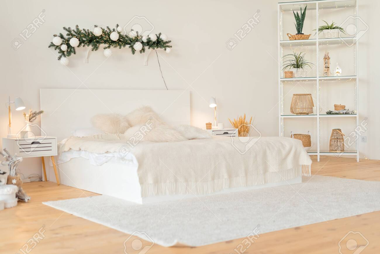 Contemporary Big Bright White Bedroom With Shelves New House Stock Photo Picture And Royalty Free Image Image 141482220