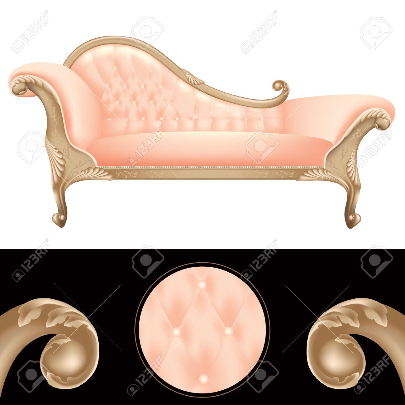 Empty Pink And Golden Vintage Sofa, Luxury Furniture Background,  Illustration Frame For Glamor,