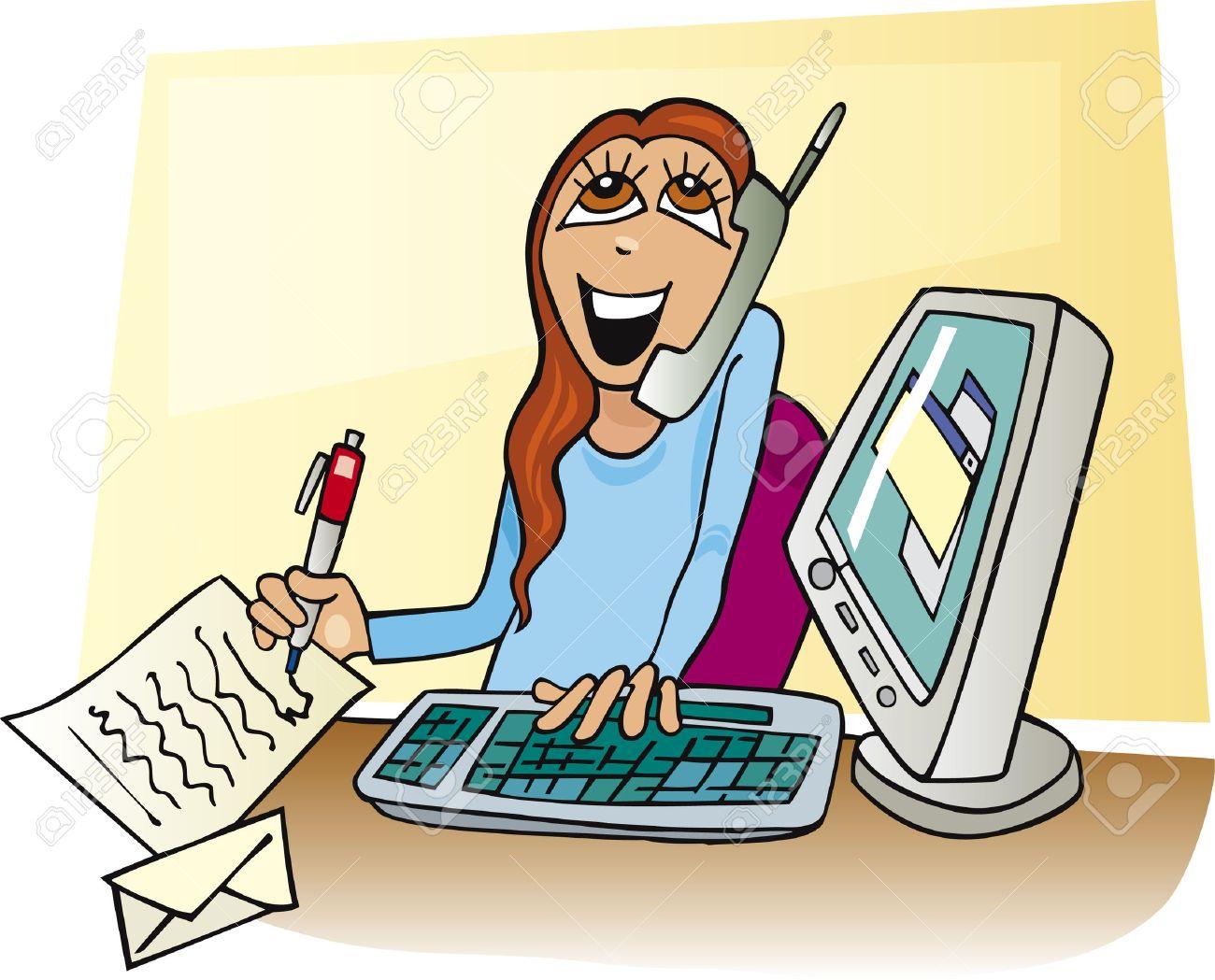 cartoon businesswoman working Stock Vector - 5815705