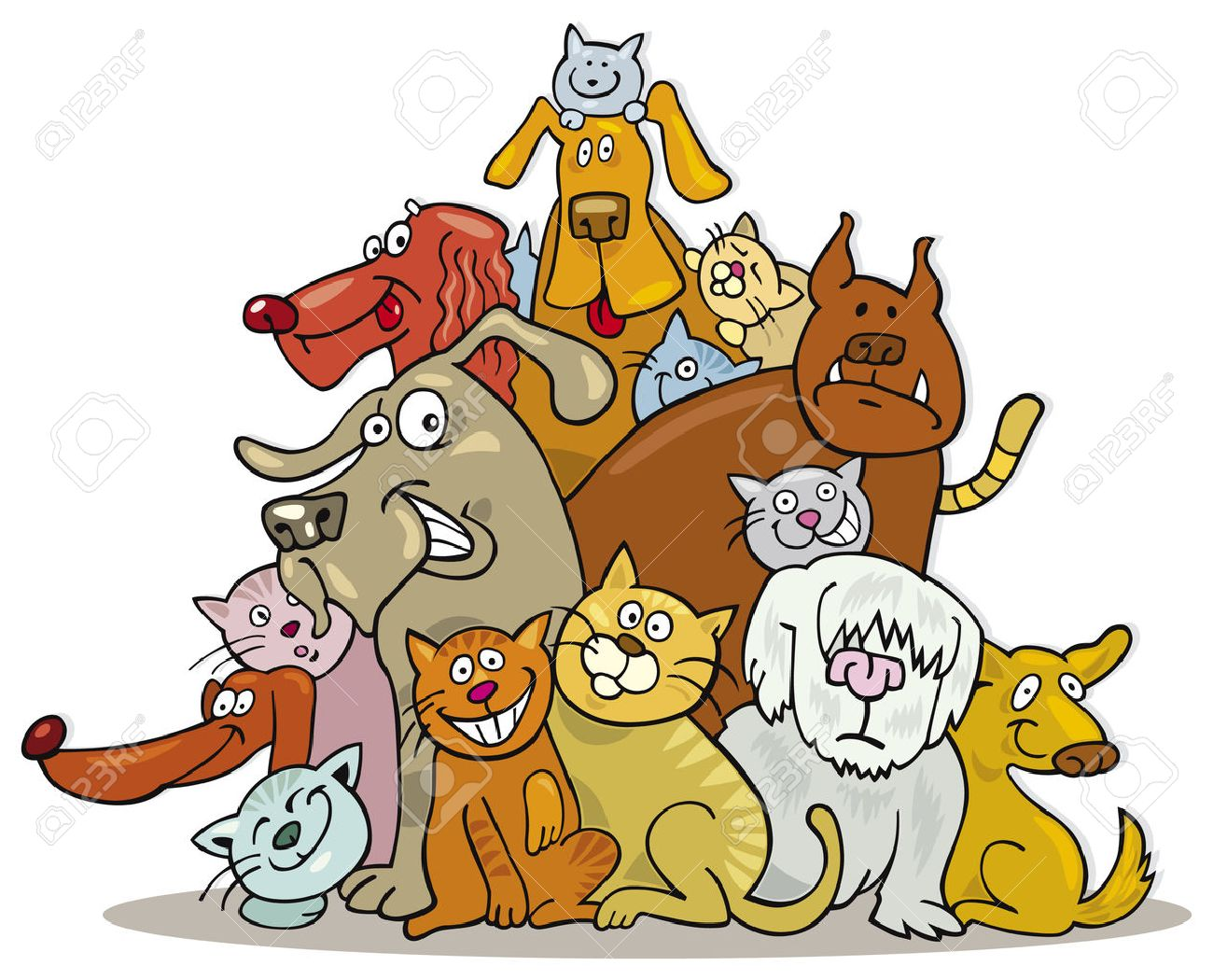 big group of cats and dogs Stock Vector - 5839956