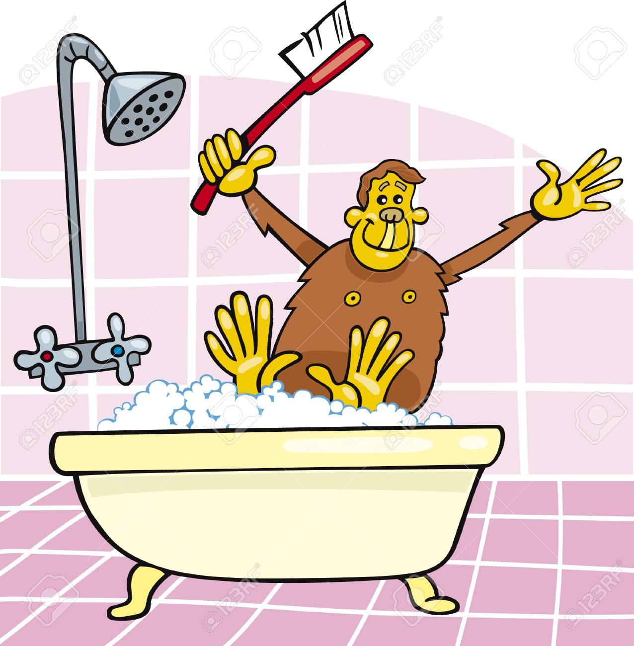 monkey in bath Stock Vector - 5978884