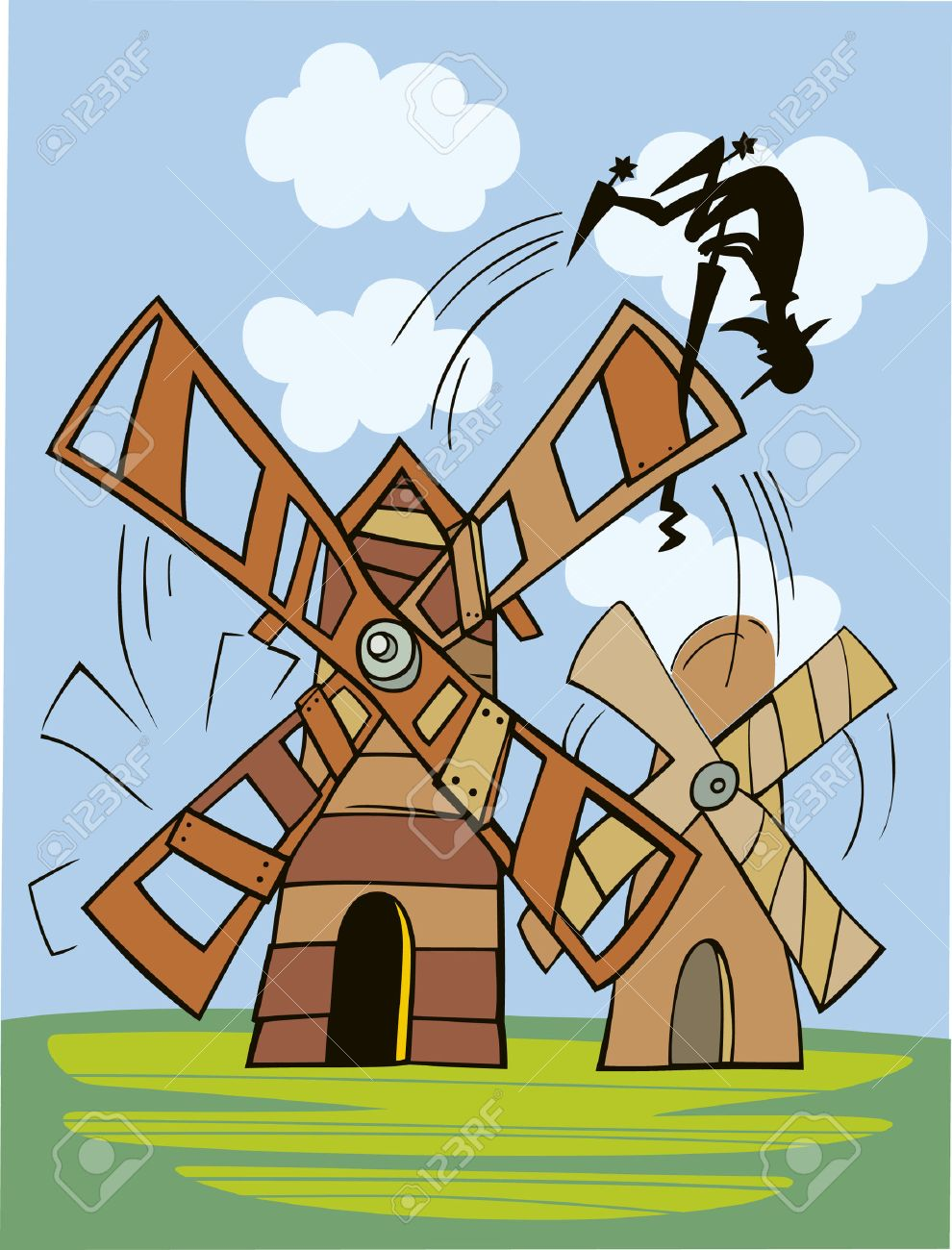 don quixote and windmill Stock Vector - 7165780
