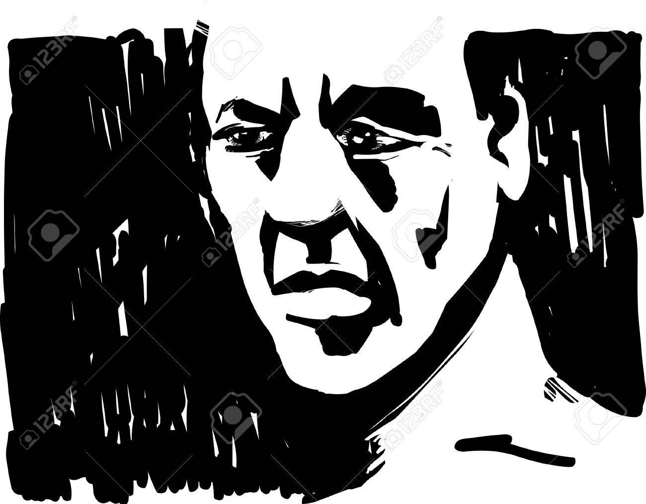 Man Face in Shadow Stock Vector - 7176625