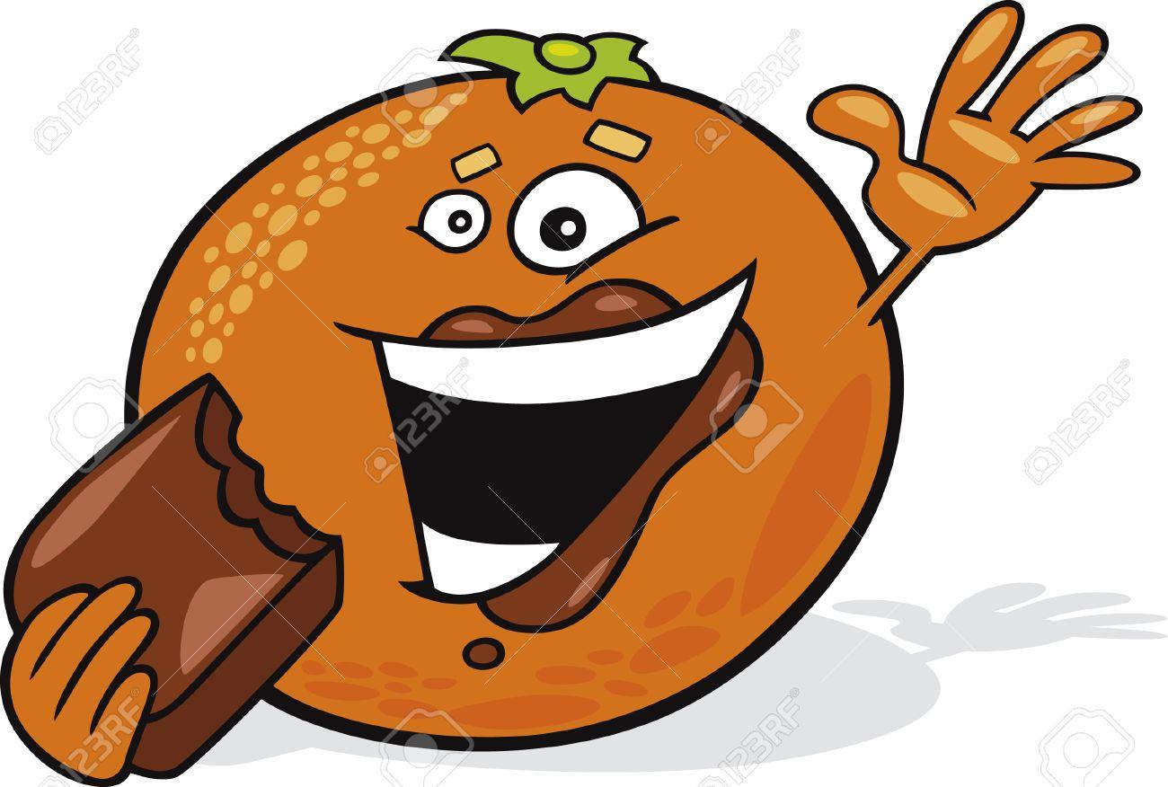 cartoon orange eat chocolate Stock Vector - 7270184
