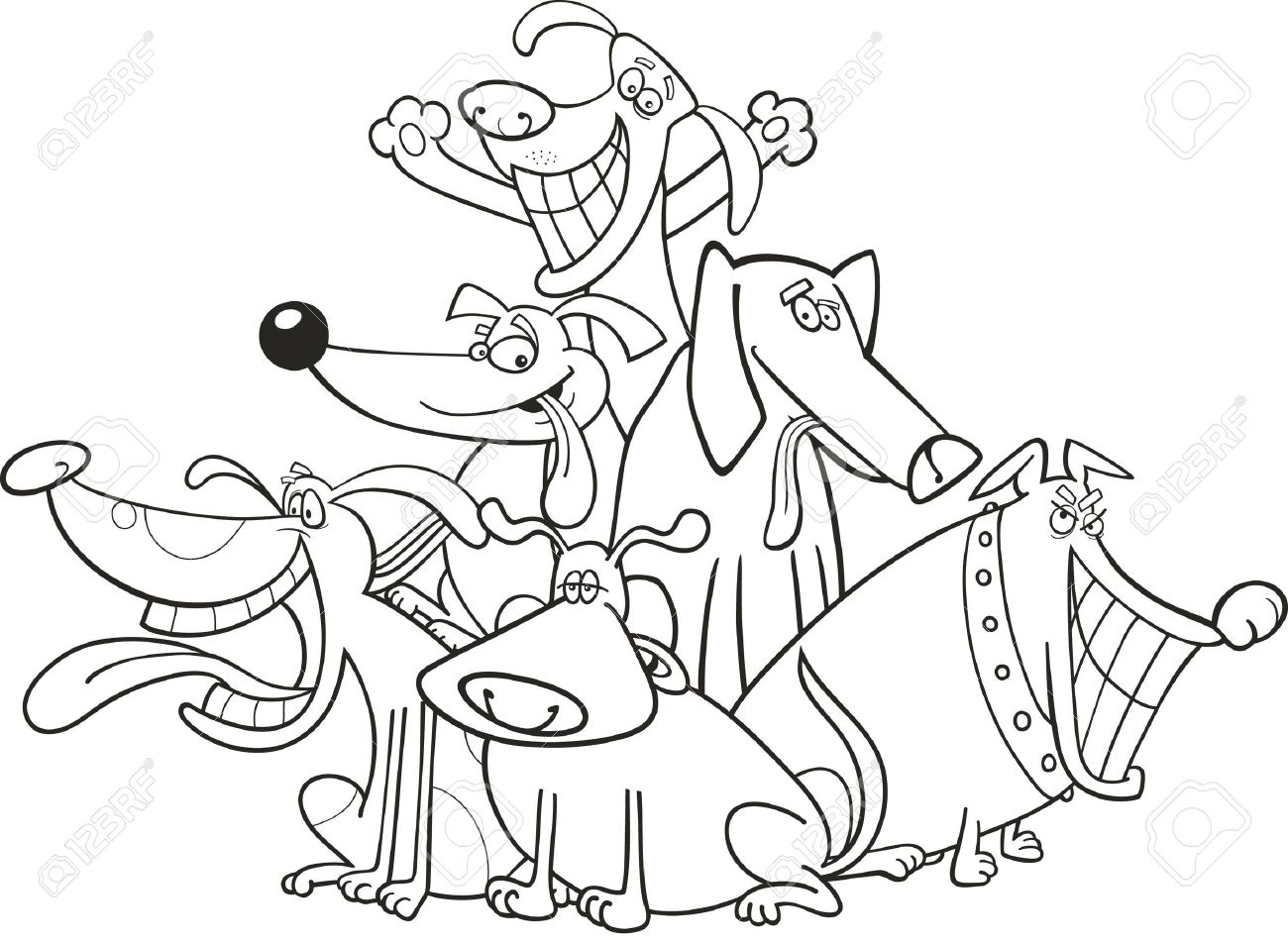 Cartoon Illustration Of Funny Dogs Group For Coloring Book Stock Vector