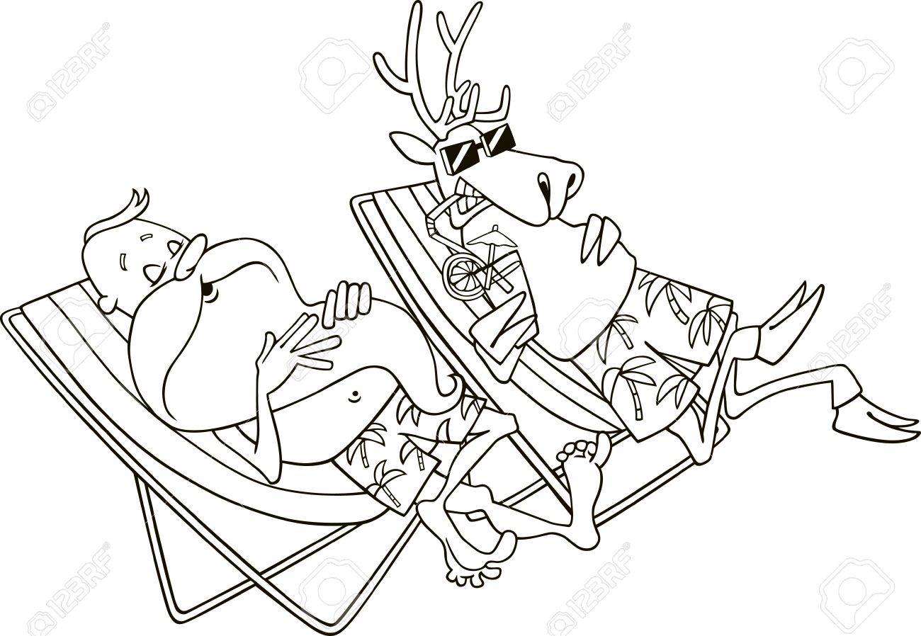 cartoon illustration of santa and reindeer having a rest for