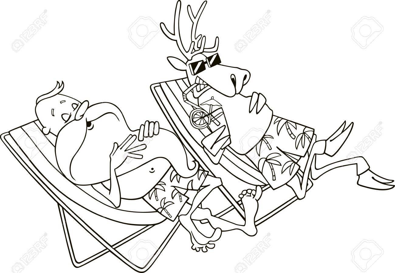 Ilustración De Dibujos Animados De Santa Y Renos Tener Un Descanso ...