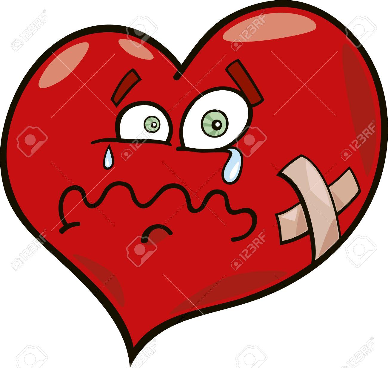 Ilustración De Dibujos Animados De Corazón Roto Ilustraciones