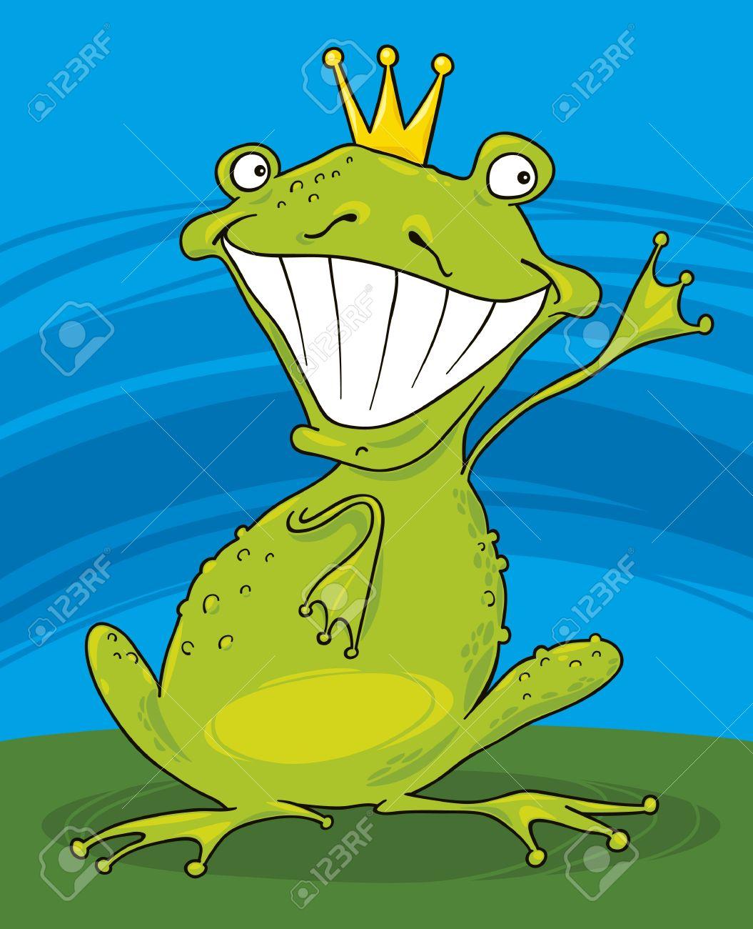 Ilustración De Dibujos Animados De Funny Príncipe Rana Ilustraciones ...