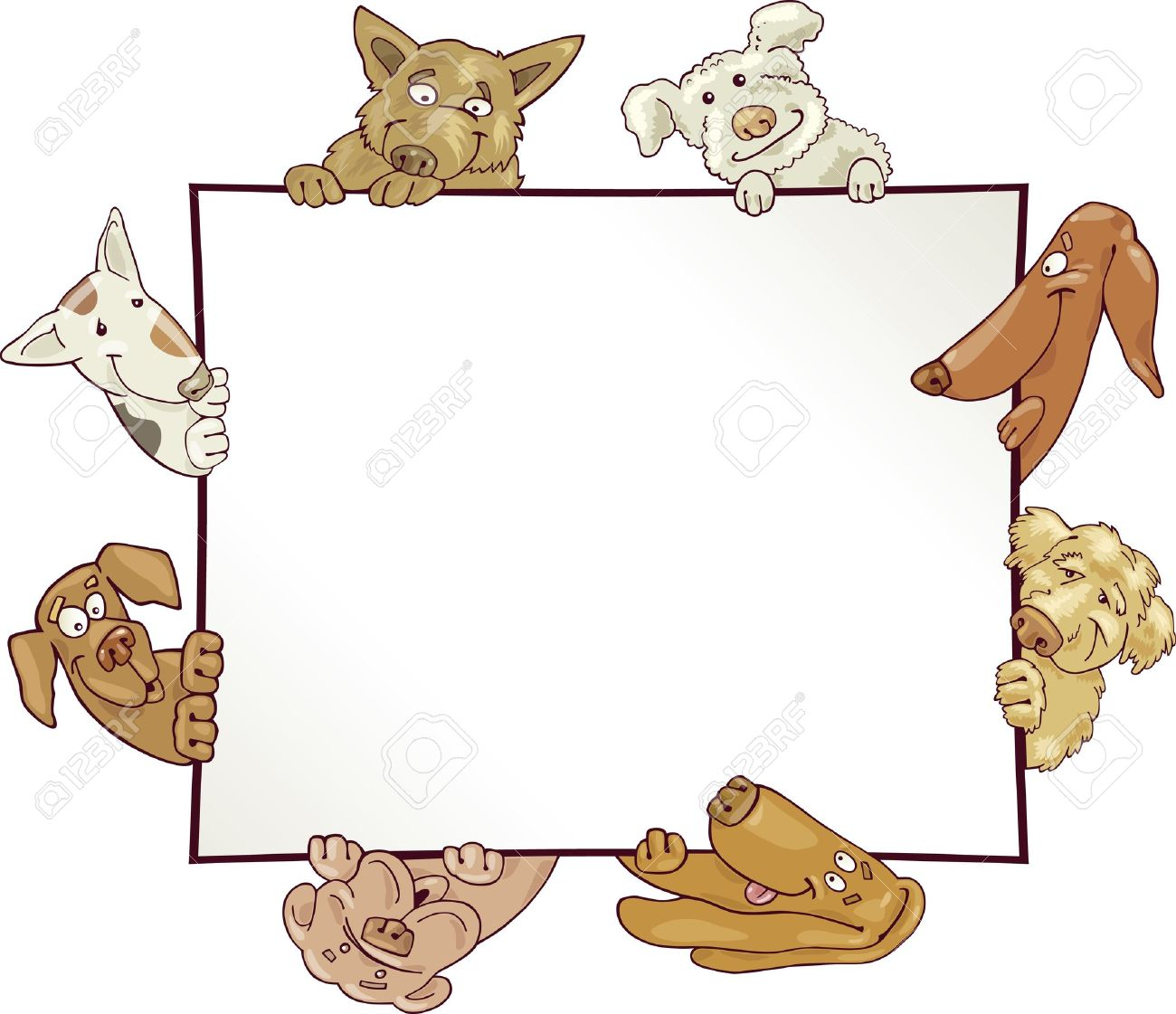 Frame With Funny Dogs Royalty Free Cliparts, Vectors, And Stock ...