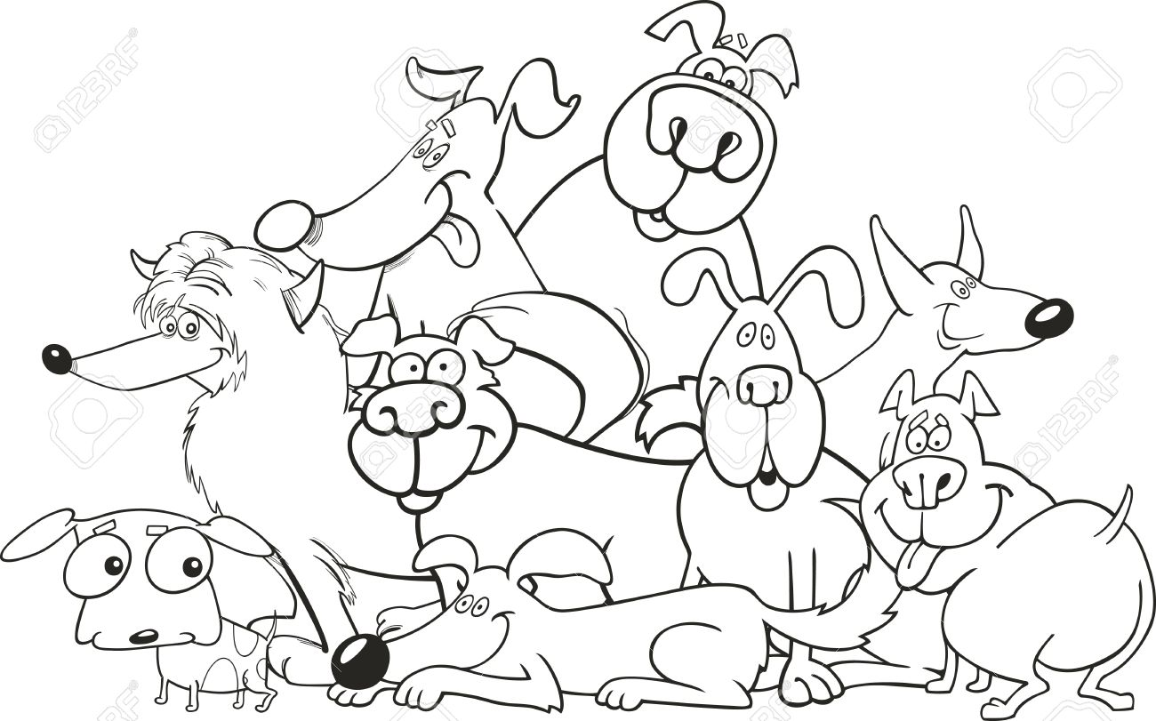 Cartoon Dogs Group For Coloring Book Royalty Free Cliparts, Vectors ...