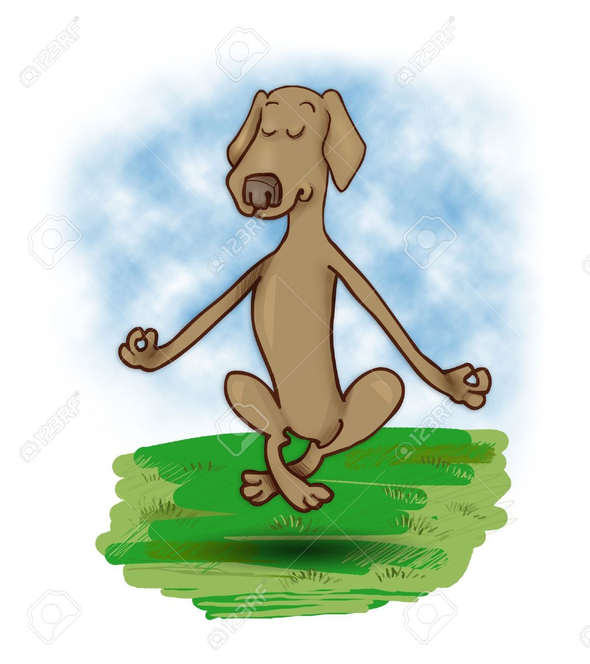 humorous illustration of meditating and levitating dog Stock Illustration - 9274992