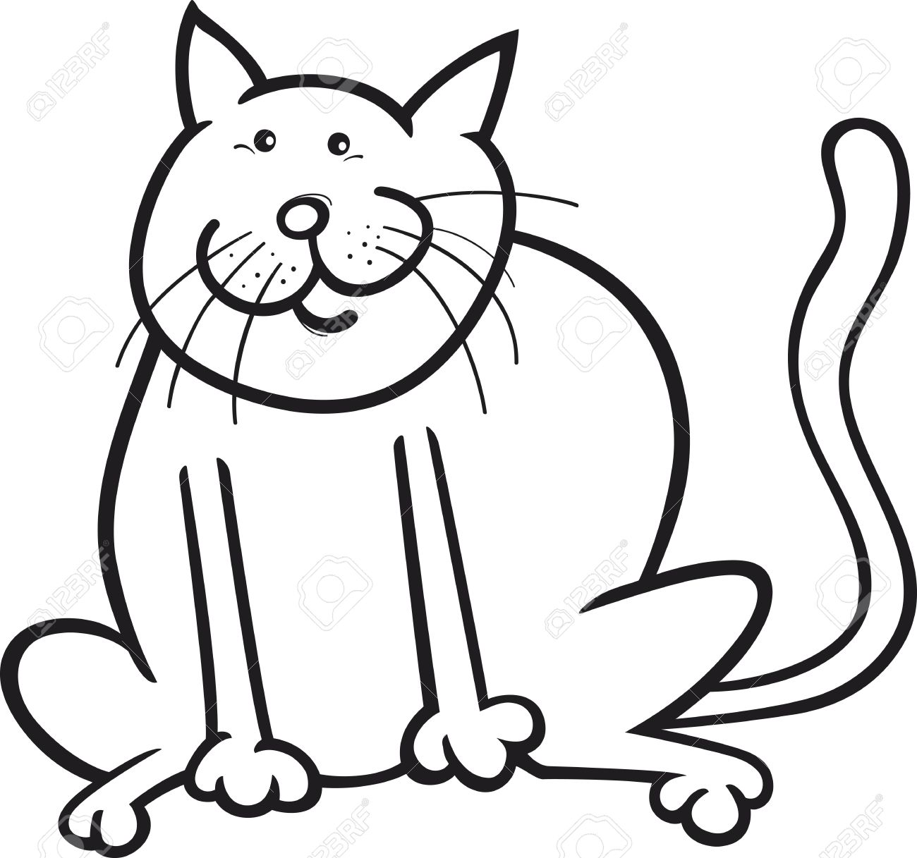 cartoon coloring page illustration of funny sitting cat royalty