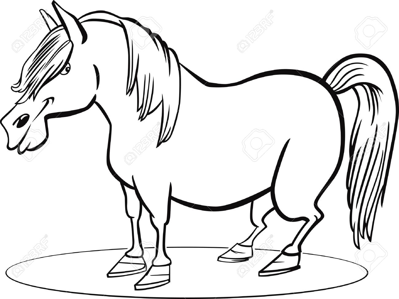 Coloring Page Illustration Of Farm Pony Horse Royalty Free Cliparts ...