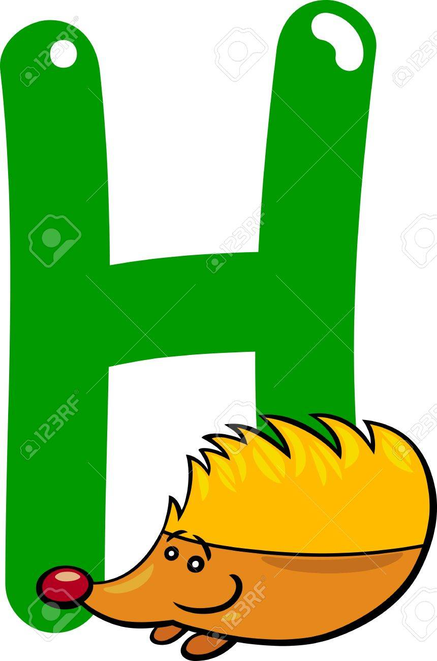 cartoon illustration of H letter for hedgehog Stock Vector - 13070817