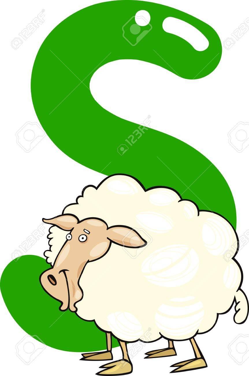 Ilustración De Dibujos Animados De La Letra S Para El Ganado Ovino