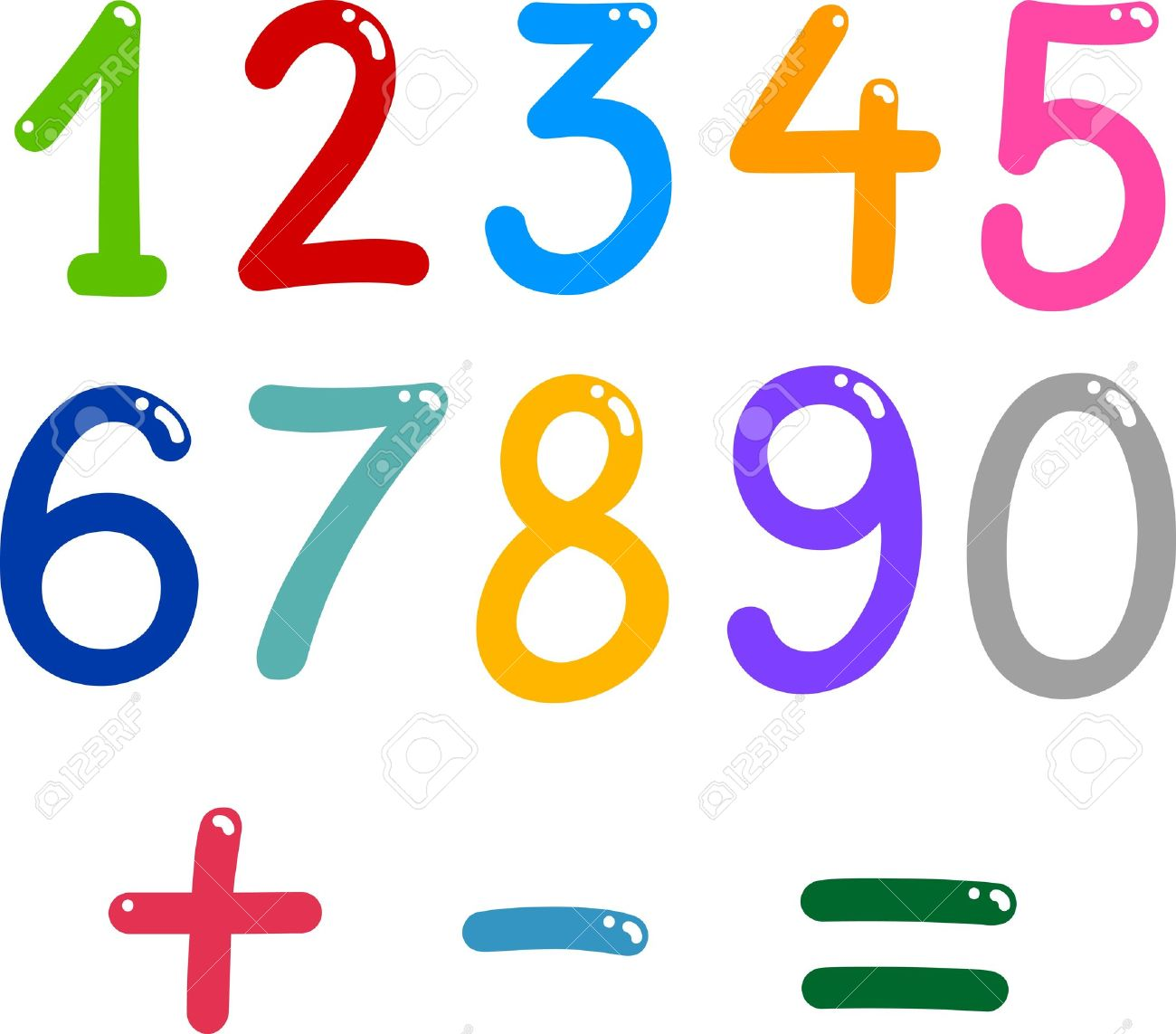 illustration of numbers from zero to nine and math symbols - 13276716