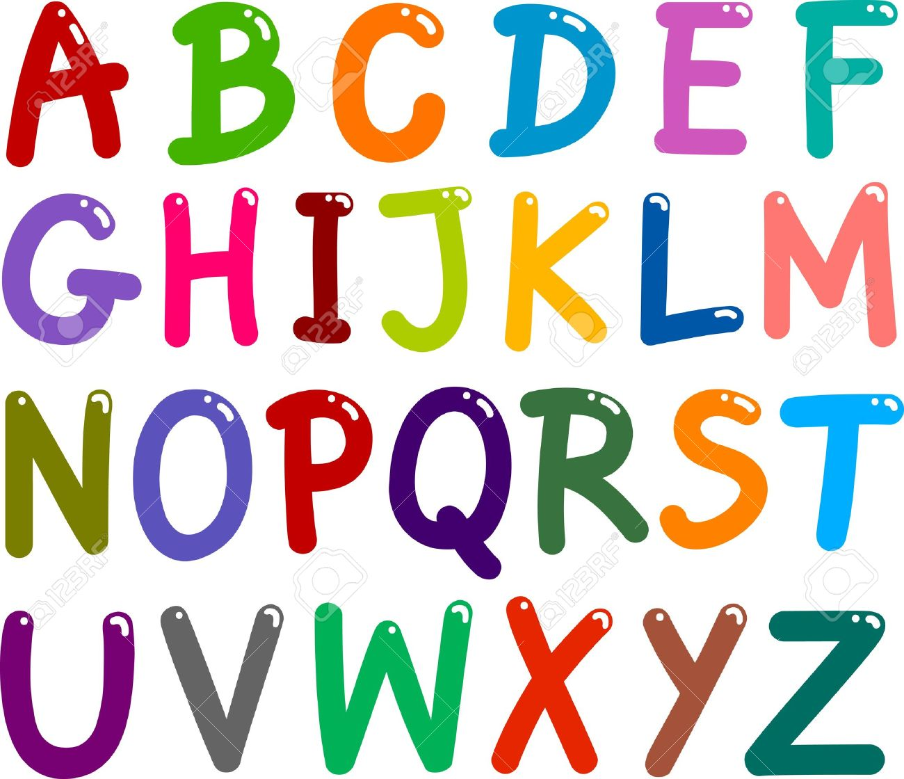 Illustration Colorful Capital Letters Alphabet For Education