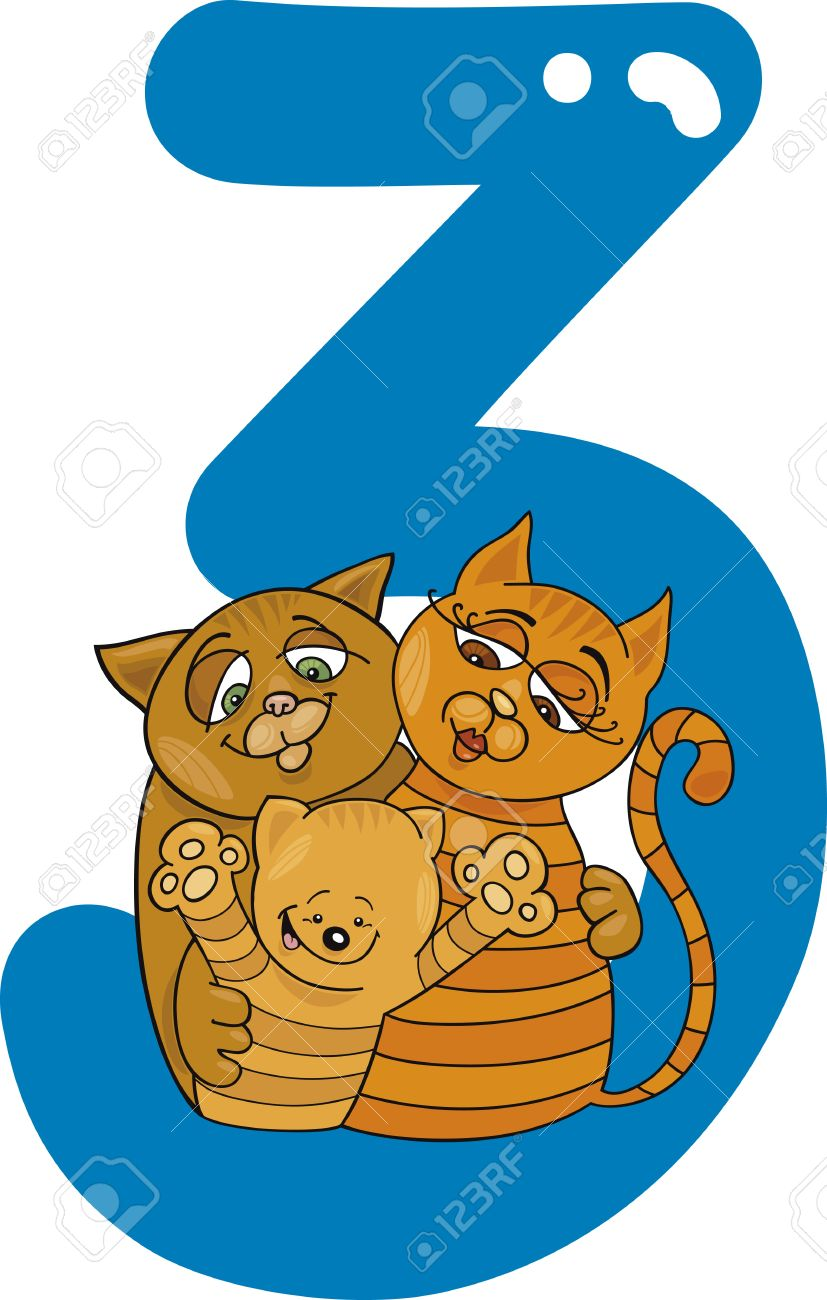 cartoon illustration with number three and cats Stock Vector - 13276672