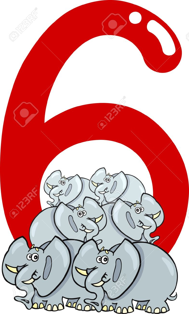cartoon illustration with number six and elephants Stock Vector - 13276707