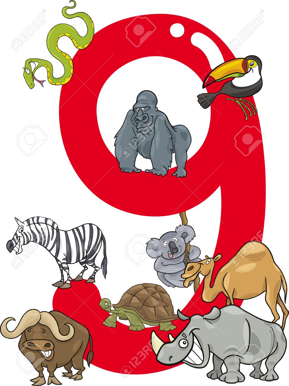 cartoon illustration with number nine and different animals Stock Vector - 13276711