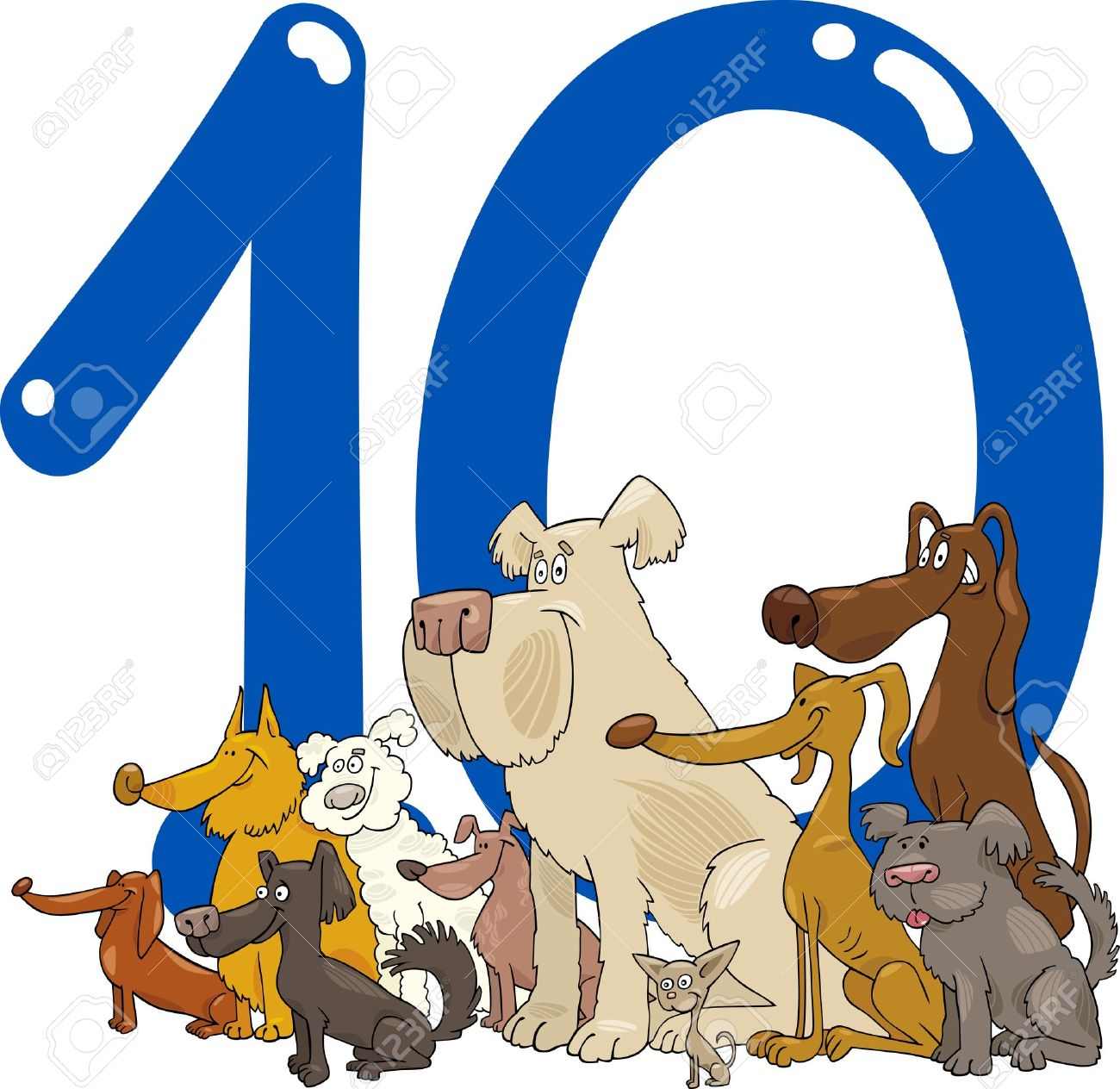 cartoon illustration with number ten and group of dogs Stock Vector - 13276713
