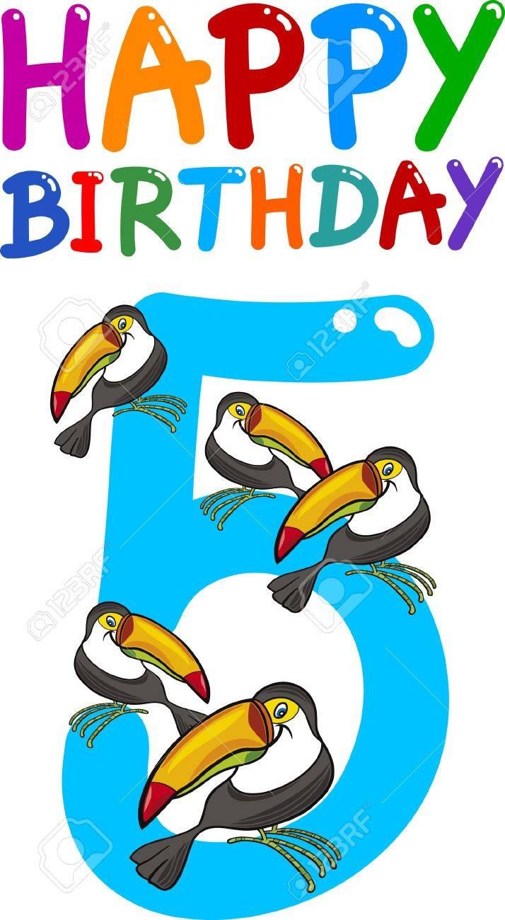 cartoon illustration design for fifth birthday anniversary Stock Vector - 13359794