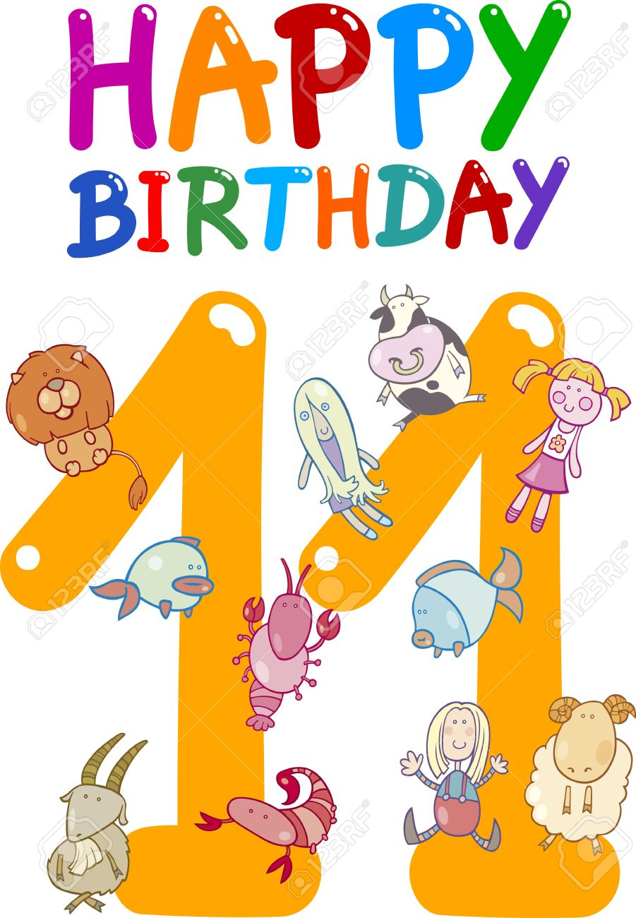 cartoon illustration design for eleventh birthday anniversary Stock Vector - 13359798